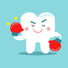 Cute cartoon tooth character in red boxing gloves, dental vector Illustration for kids