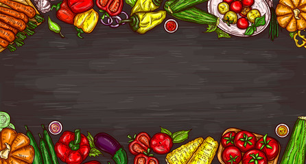 Vector cartoon illustration of various vegetables on a wooden background, top view with copy space. Bright poster with organic food