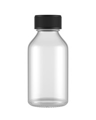 blank glass bottle isolated on white background, 3D rendering