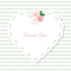 Heart doily frame decorated with roses on stripped hand drawn pattern. With copy space for text or photo. Shabby chic design.