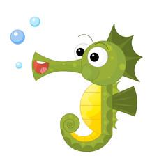 cartoon happy and funny looking seahorse