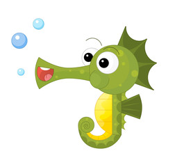 cartoon happy and funny looking seahorse