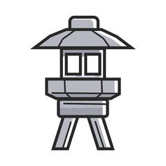 Japanese street ground lamp in metal corpus isolated illustration