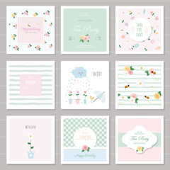 Cute cards for girls with floral decorative elements. For birthday, wedding, valentines, notebook cover. Included six seamless patterns.