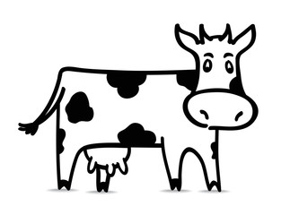 Funny black and white cow. Vector illustration.