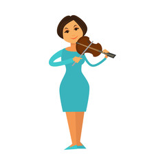Orchestra jazz band woman playing violin fiddle music performer vector flat icon