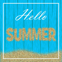 Summer vector illustration with an inscription of sand on a blue wooden background of boards