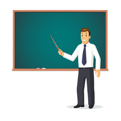 Smiling teacher with pointer standing in front of school chalkboard. Vector illustration isolated on white background.
