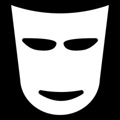 Theater mask  the white color icon .