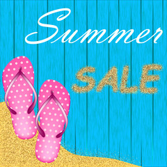 Summer vector illustration with inscription Sale of sand and pink flakes on blue wooden background of boards