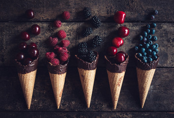 Fresh berries in the cone