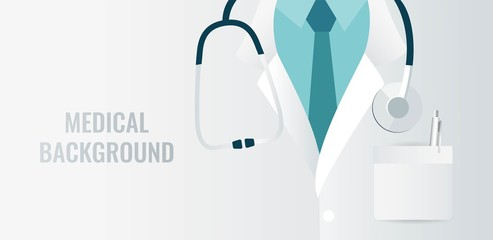 Medical background with close up of doctor with stethoscope. Vector illustration