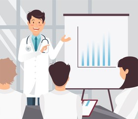 Young cheerful doctor delivering a presentation to his team colleagues. Medical workers in conference room. Vector illustration