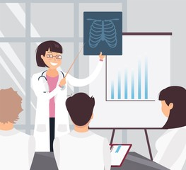 Young cheerful female doctor delivering a presentation to her colleagues and showing x-ray image. Medical workers in conference room. Vector illustration