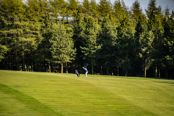 Man Playing Golf on Green Golf Course Hitting Golf Ball down, Golfer on green golf field with trees and blue cloudy sky in background