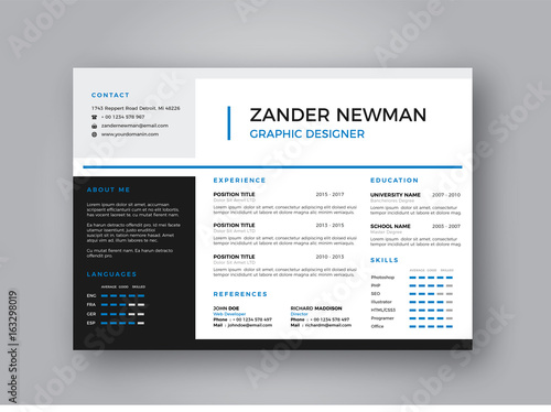 u0026quot landscape cv resume clean design vector template