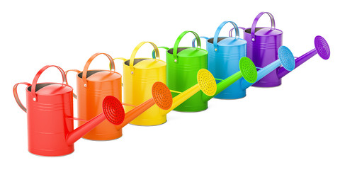 Set of colored watering cans, 3D rendering