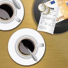 brasserie - comptabilité - tasse de café - compte - coût - pouvoir d'achat - cafétéria