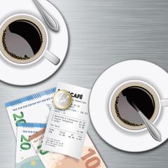 café - brasserie - tasse de café - comptabilité - cafétéria - coût