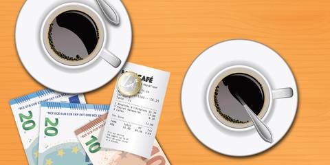 tasse de café - brasserie - addition - cafétéria -repas - compte - déjeuner