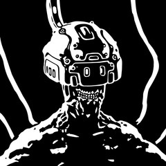 The helmet of virtual reality. Science fiction. Vector illustration.
