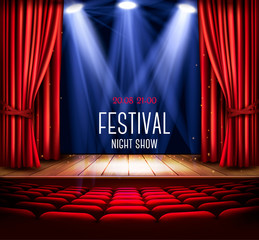 Background with a red curtain and a spotlight. Festival night show poster. Vector.