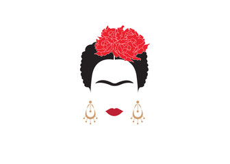 portrait of Mexican or Spanish woman minimalist Frida with earrings and red flowers , vector isolated