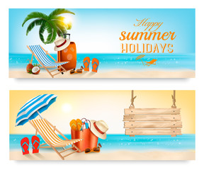 Tropical island with palms, a beach chair and a ocean. Vacation vector banners.