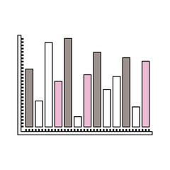 silhouette color sections of statistical graphs colour bars vector illustration