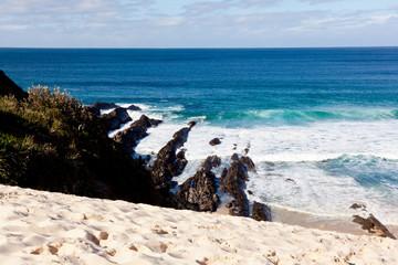 Coastal Sandune, rocks and surf at One Mile Beach, Forster, New South Wales, ,Australia