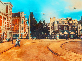 Beautiful houses in the center street of Amsterdam. Watercolor. Oil painting style.