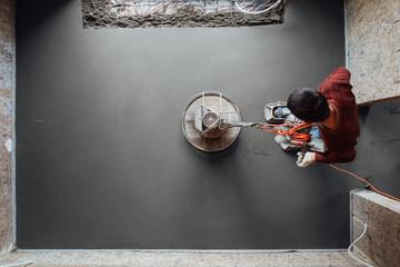 concrete floor final grinding, top view