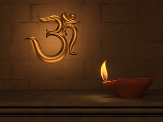 Indian Traditional Oil Lamp with Om symbol