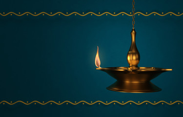 Wall Mural -  Indian Traditional Oil Lamp