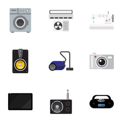 Set Of 9 Editable Home Icons. Includes Symbols Such As Laundromat, Cassette Player, Megaphone And More. Can Be Used For Web, Mobile, UI And Infographic Design.