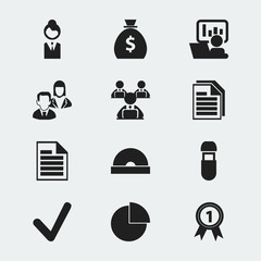 Set Of 12 Editable Office Icons. Includes Symbols Such As Money Bag, Job Woman, Worker With Laptop And More. Can Be Used For Web, Mobile, UI And Infographic Design.