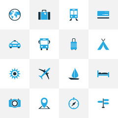Journey Colorful Icons Set. Collection Of Bus, Bed, Map Pin And Other Elements. Also Includes Symbols Such As Doss, Direction, Mastercard.