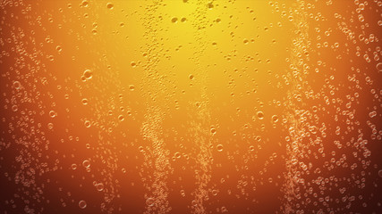 Orange juice bubbles abstract background 3d illustration