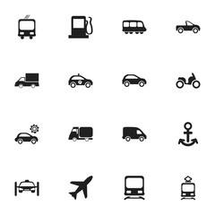 Set Of 16 Editable Shipment Icons. Includes Symbols Such As Moped, Garage, Fuel And More. Can Be Used For Web, Mobile, UI And Infographic Design.