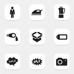 Set Of 9 Editable Trade Icons. Includes Symbols Such As Label, Photographing, Package And More. Can Be Used For Web, Mobile, UI And Infographic Design.
