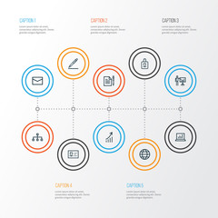 Job Outline Icons Set. Collection Of Global, Statistics, Business Presentation And Other Elements. Also Includes Symbols Such As Statistics, Business, Man.