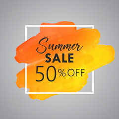 Gold Watercolor Vector of Summer Sale 50% off