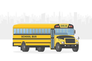 Vector yellow school bus on white city background