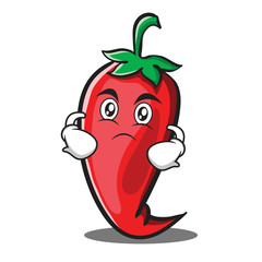 Serious red chili character cartoon