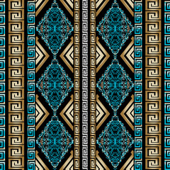 Striped geometric seamless pattern with vertical gold and blue 3d greek key and vintage baroque damask ornaments. Modern black vector background wallpaper with versace antique ornamental gold stripes
