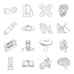 medicine, cooking,taxi and other web icon in outline style.weapons, service, finance icons in set collection.