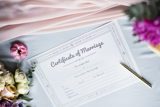 Closeup of Marriage Certificate License Paper