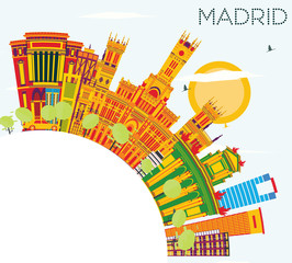 Madrid Skyline with Color Buildings, Blue Sky and Copy Space.