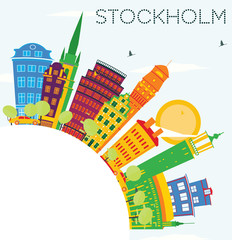 Stockholm Skyline with Color Buildings, Blue Sky and Copy Space.
