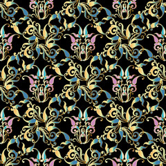 Damask seamless pattern. Black floral background wallpaper illustration with colorful  flowers, curve swirl line art tracery leaves and abstract paisley ornaments. Vector  texture